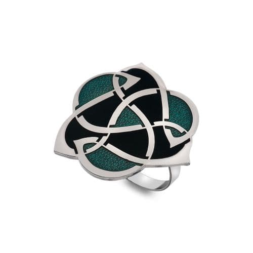 Archibald Knox Style Green Scarf Ring