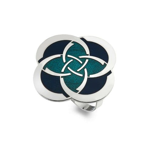 Celtic Circles and Slim Knot Blue Enamel Scarf Ring from Sea Gems