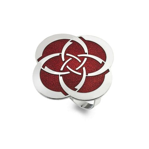 Celtic Circles and Slim Knot Red Enamel Scarf Ring from Sea Gems