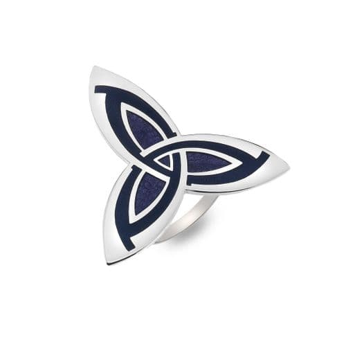 Celtic Trinity Knot Enamel Scarf Ring  - Purple - Gift Boxed