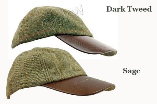 Deluxe Derby Tweed / Leather Baseball Cap Available in Dark Tweed or Sage