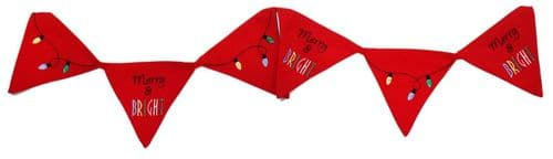 Fairy Lights Merry and Bright Christmas Embroidered Christmas Bunting 210cm