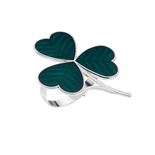 Irish Shamrock Enamel Scarf Ring