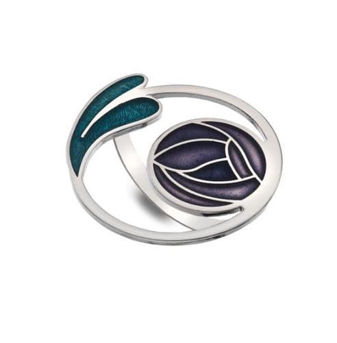 Mackintosh Rose and Leaves Coil  Enamel Scarf Ring Gift Boxed - Purple
