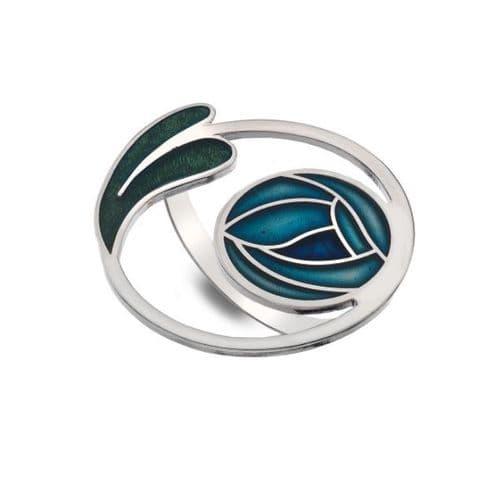 Mackintosh Rose and Leaves Coil  Enamel Scarf Ring Gift Boxed - Turquoise