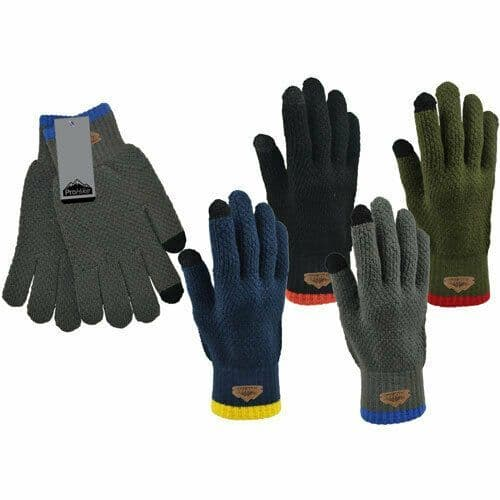 Mens ProHike Waffle Knitted Winter Touch Screen Gloves
