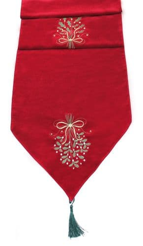 Mistletoe and Holly Embroidered Velvet Table Runner 35cm x 190cm