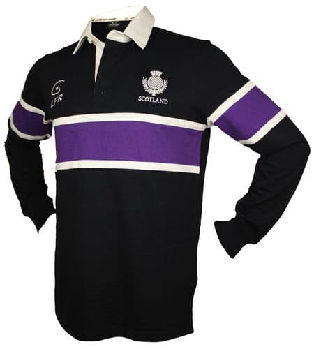 Scotland Purple Stripe Thistle Embroidered Long Sleeve Rugby Shirt