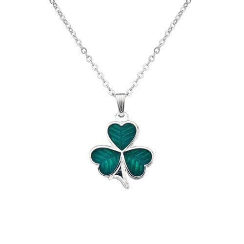 Sea Gems Green Enamel Celtic Shamrock Pendant Gift Boxed St Patrick's Day