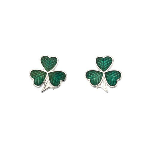 Sea Gems Green Enamel Celtic Shamrock Stud Earrings Gift Boxed St Patrick's Day