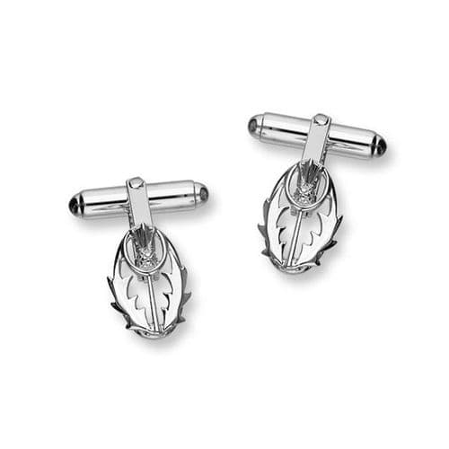 Sterling Silver Scottish Thistle The Flower of Scotland Design Pair of Cufflinks - CL108