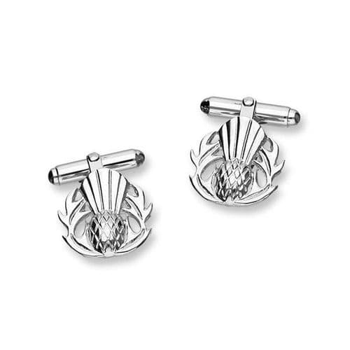 Sterling Silver Scottish Thistle The Flower of Scotland Design Pair of Cufflinks - CL183