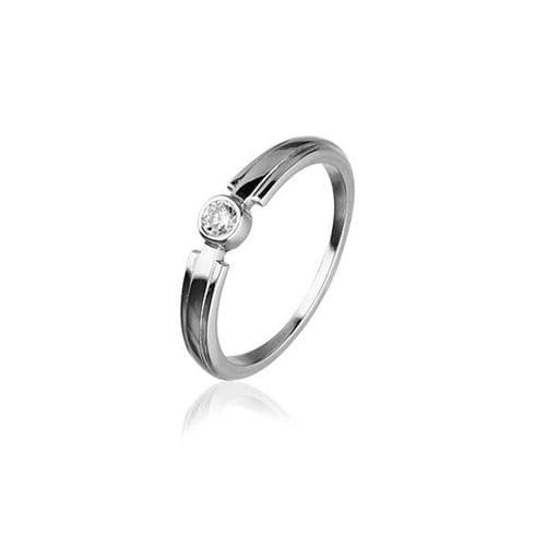 Sterling Silver Traditional Scottish Celtic Design Ring WIth Cubic Zirconia Stone - CR163