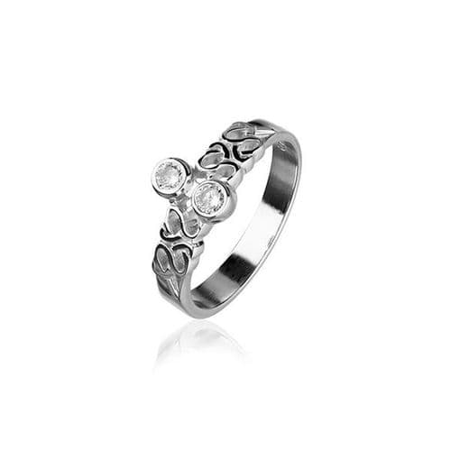 Sterling Silver Traditional Scottish Celtic Design Ring WIth Cubic Zirconia Stone - CR164