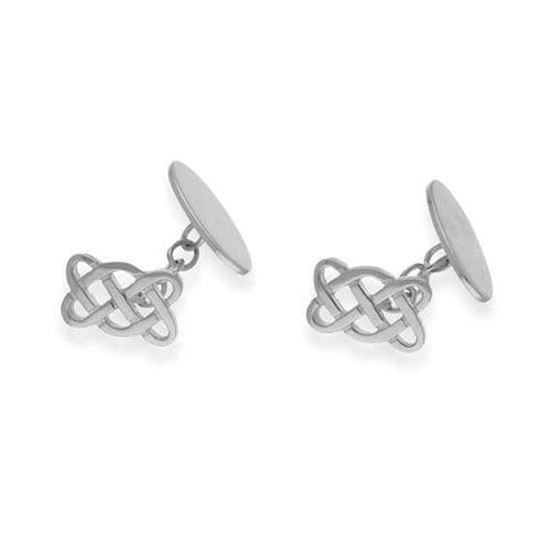 Sterling Silver Traditional Scottish Celtic Eternity Knotwork Cufflinks - CL58