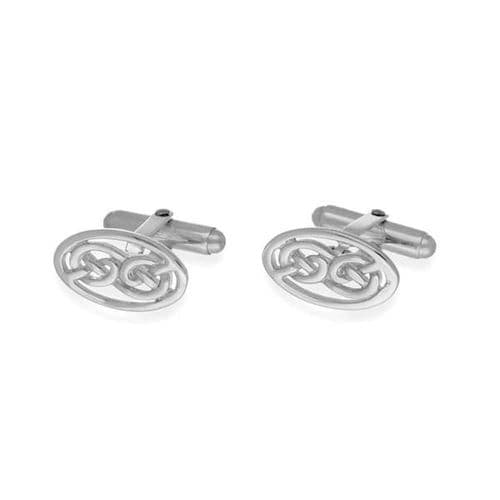 Sterling Silver Traditional Scottish Celtic Eternity Knotwork Oval Bar Cufflinks - CL123
