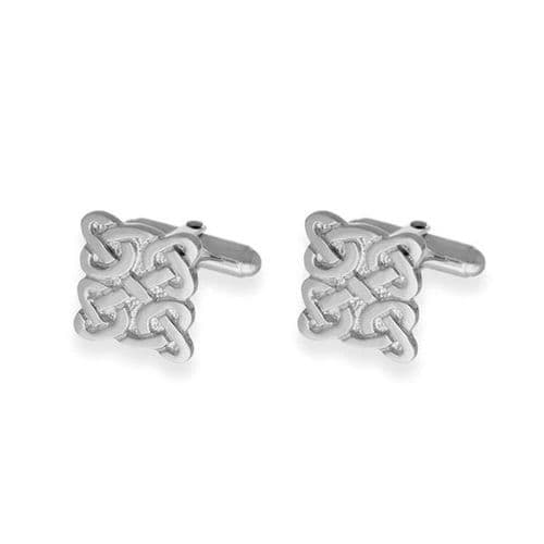 Sterling Silver Traditional Scottish Celtic Eternity Knotwork Square Bar Cufflinks - CL65