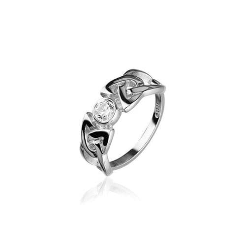 Sterling Silver Traditional Scottish Celtic Knotwork Design Ring WIth Cubic Zirconia Stone - CR154