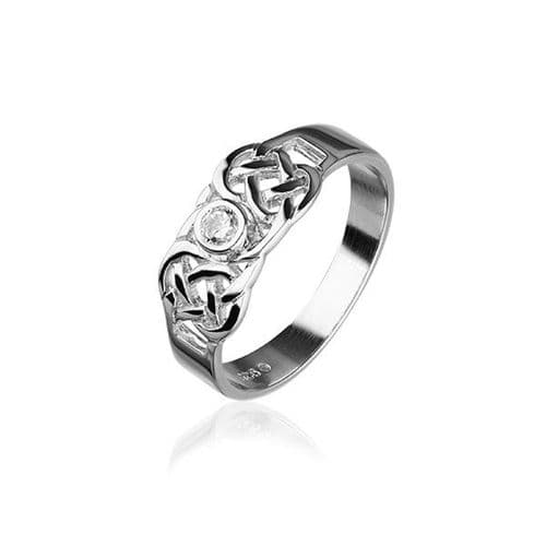 Sterling Silver Traditional Scottish Celtic Knotwork Design Ring WIth Cubic Zirconia Stone - CR159