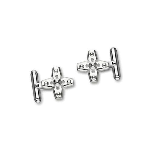 Sterling Silver Traditional Scottish Cross Shaped Bar Cufflinks - CL129
