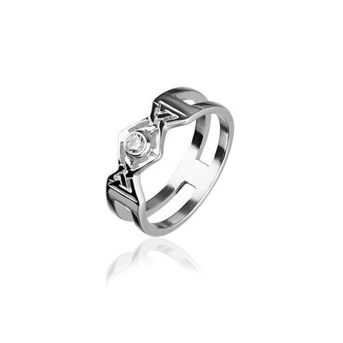 Sterling Silver Traditional Scottish 'Cubid' Design Ring WIth Cubic Zirconia Stone - CR155