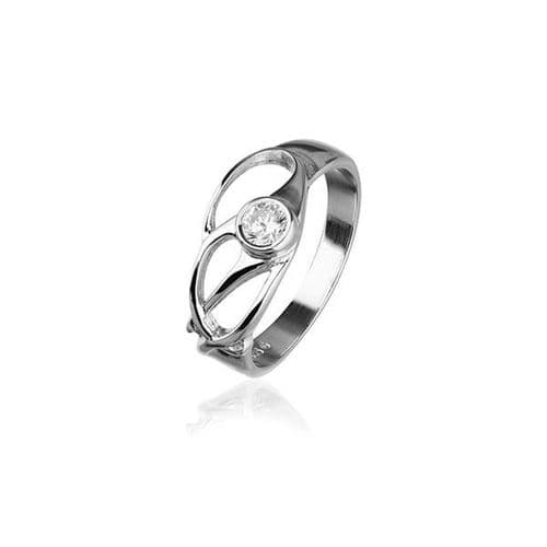 Sterling Silver Traditional Scottish 'Cubid' Design Ring WIth Cubic Zirconia Stone - CR160