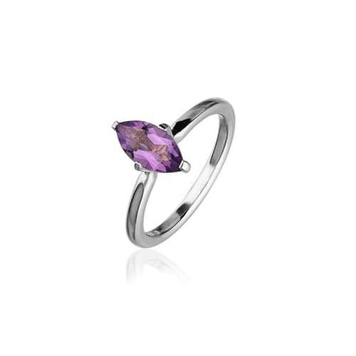 Sterling Silver Traditional Scottish 'Cupid' Design Ring WIth Amethyst Stone - CR167