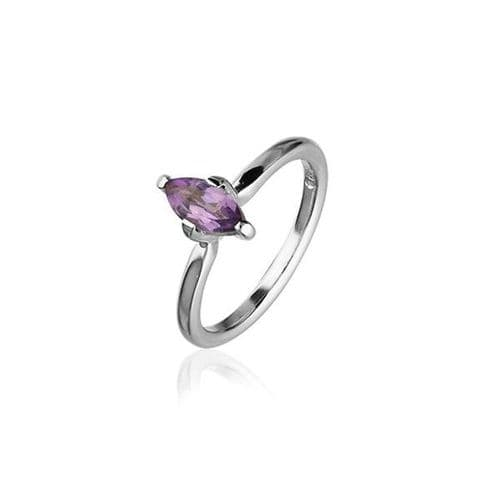 Sterling Silver Traditional Scottish 'Cupid' Design Ring WIth Amethyst Stone - CR168