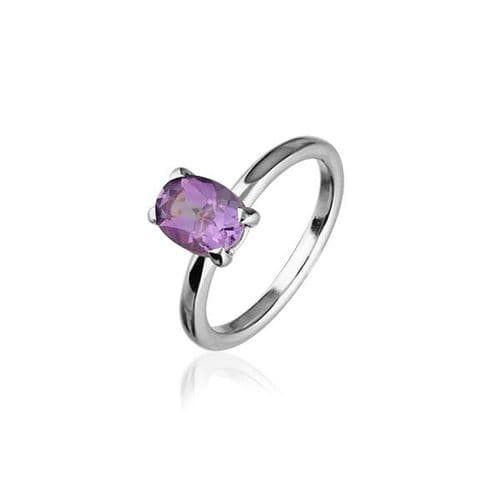 Sterling Silver Traditional Scottish 'Cupid' Design Ring WIth Amethyst Stone - CR169
