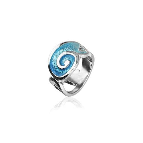 Sterling Silver Traditional Scottish 'Tranquillity' Design Ring With Hot Glass Enamel - ER106