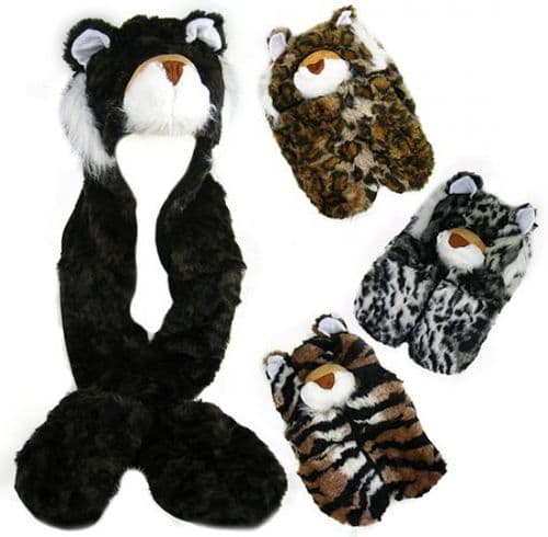 Unisex Tiger Hoody Hat Scarf with Pockets