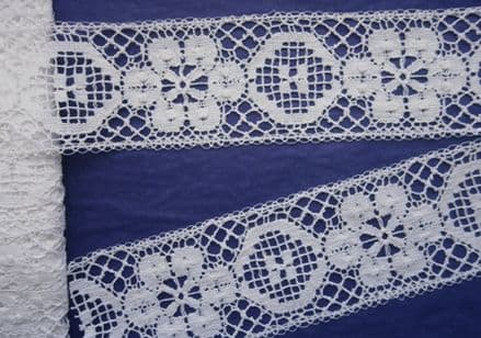 1.75m Remnant Number 1 INS White Cotton Nottingham Cluny Lace
