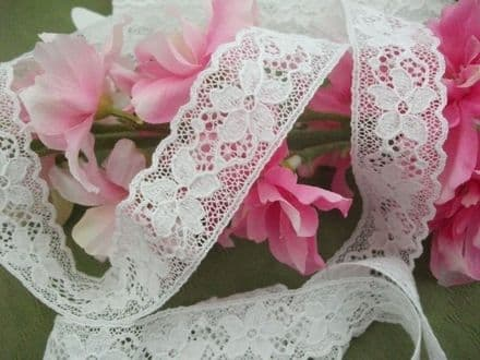 Excl White English Cotton Cluny Lace Trim Vintage style 5 petal flowers - Bridal
