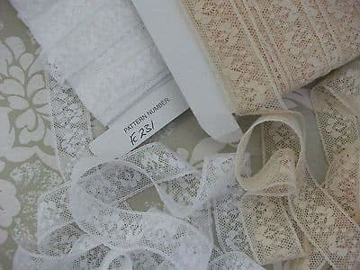FC231 Exclusive Ecru / Coffee Coloured Nottingham Cotton Cluny Lace, Vintage style