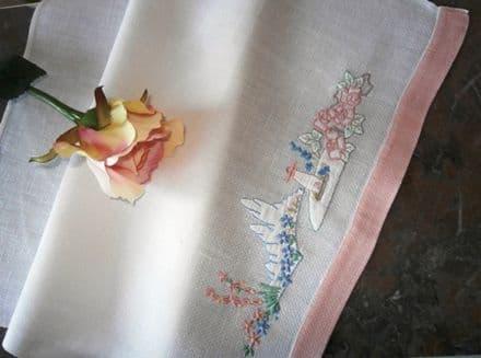 HT1 Genuine Vintage White Huckaback Towel