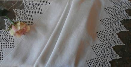 HT10 Genuine Vintage White Huckaback Towel