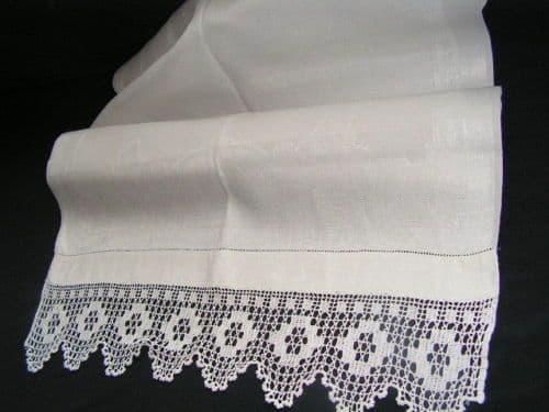 HT6 Large Genuine Vintage White Lace Edged Huckaback Towel