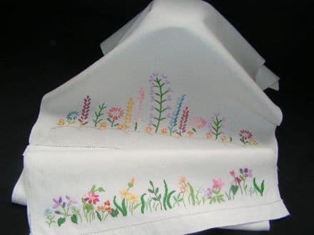 HT7 Genuine Vintage White Linen Huckaback Towel