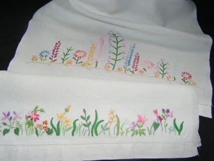 HT8 Genuine Vintage White Linen Huckaback Towel