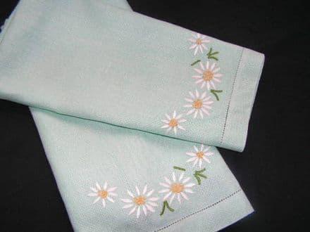 HT9 Genuine Vintage Sea Green Huckaback Towel