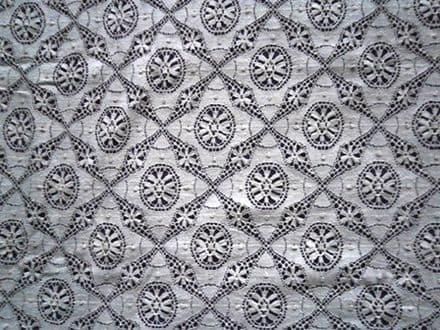 "Light Ecru Cluny All Over Cotton Nottingham Lace ""Cartwheel"" pattern"
