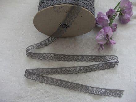 Narrow 15mm Fine Nottingham Lace Trim - Man Made Fibre Deep Grey