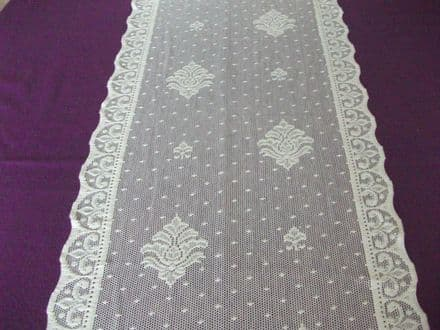 Vintage Cotton Ivory Nottingham Lace curtain / tablerunner / fabric- Claire