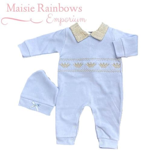 Baby Blue Long  Sleeve Crown Spanish Romper