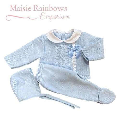 Baby Boys Blue 3pce Spanish Knitted Set