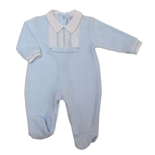 Baby Boys Blue/White Diamond Smocked Babygrow