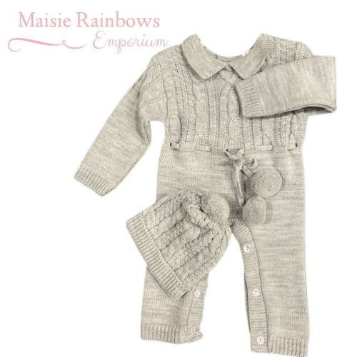 Baby Boys Grey Knitted Onesie & Hat
