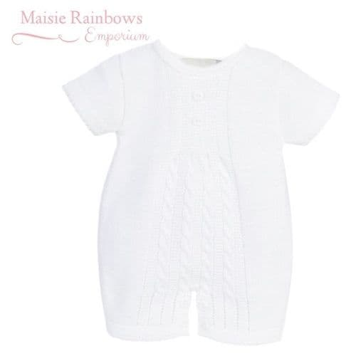Baby Boys White Cable Knit Romper