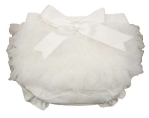 Baby Girls Ivory Frilly Organza Bow Cotton Jam Pants