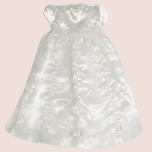 Baby Girls Ivory Waterfall Lace & Organza Gown